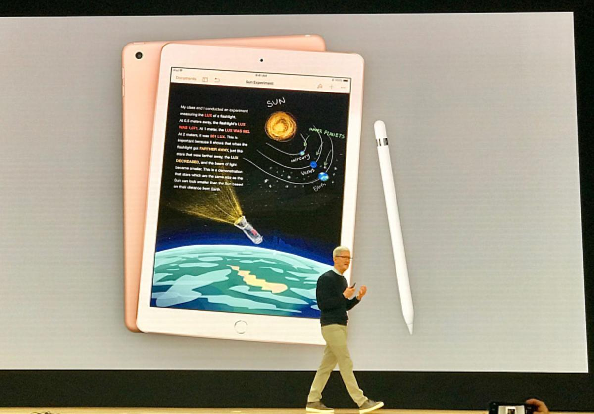 Apple Inc. CEO Tim Cook introduces the new iPad with Apple Pencil support at an event in Chicago, Illinois, on March 27, 2018.