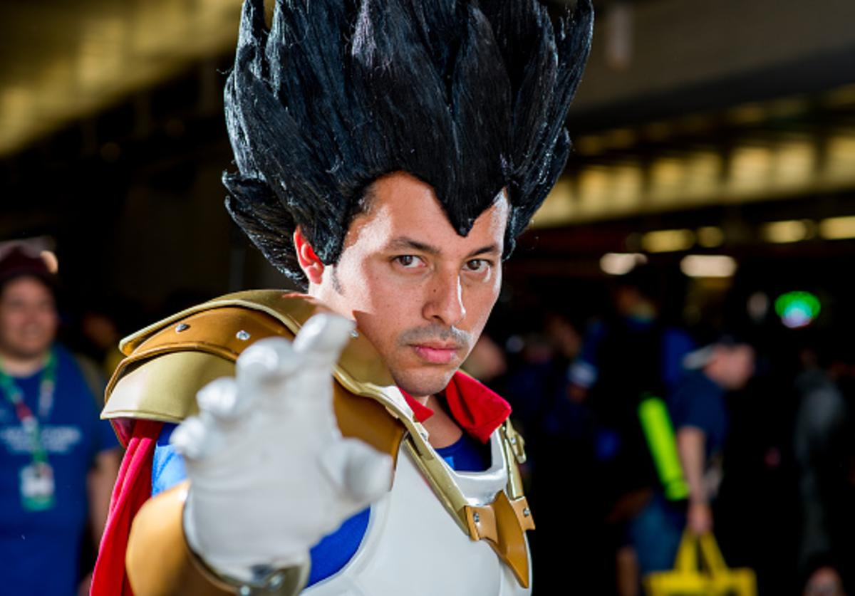 OCTOBER 06: A fan cosplays as Vegeta from Dragon Ball Z during 2017 New York Comic Con - Day 2 on October 6, 2017 in New York City.