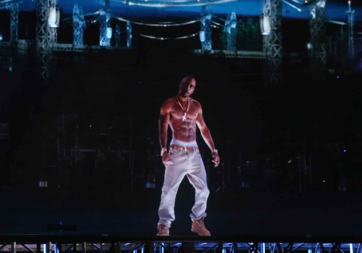 A hologram of deceased rapper Tupac Shakur performs onstage during day 3 of the 2012 Coachella Valley Music & Arts Festival at the Empire Polo Field on April 15, 2012 in Indio, California.