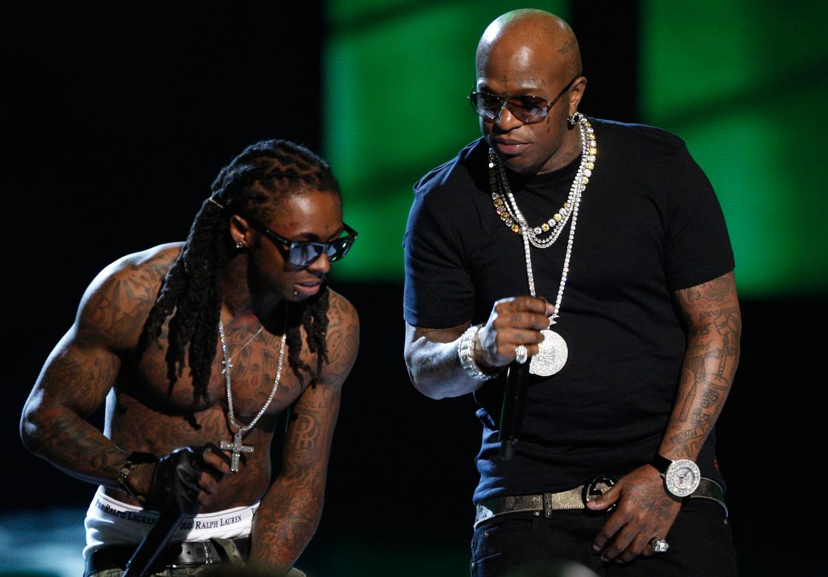 Lil Wayne (L) and Birdman perform onstage during the 2009 BET Awards held at the Shrine Auditorium on June 28, 2009 in Los Angeles, California