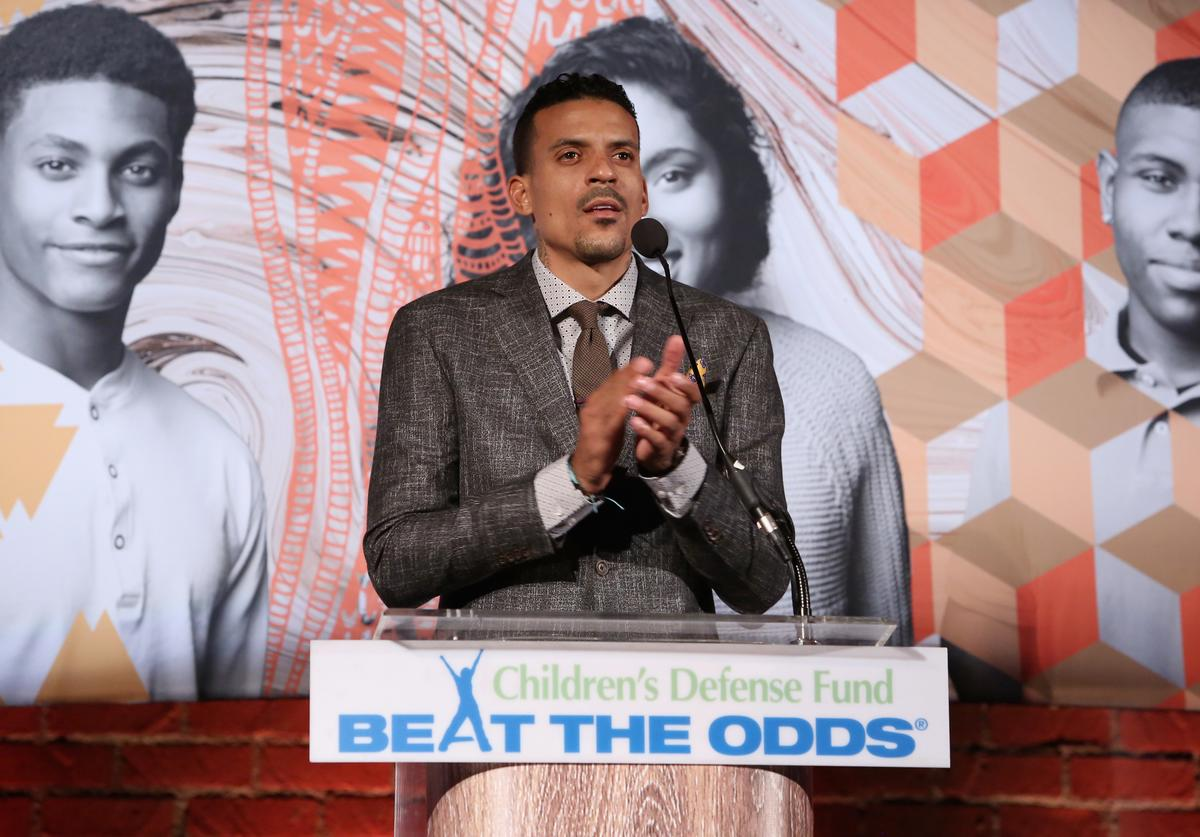 NBA player Matt Barnes speaks onstage during Children's Defense Fund - California Hosts 24th Annual Beat The Odds Awards at Book Bindery on December 4, 2014 in Culver City, California.