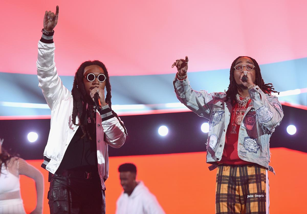 Takeoff and Quavo of Migos perform at halftime of the NBA All-Star Game 2018 at Staples Center on February 18, 2018 in Los Angeles, California.