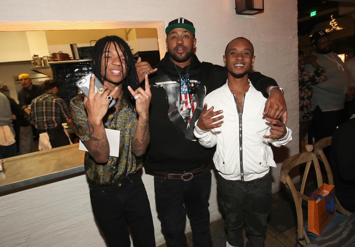 Swae Lee, Mike Will Made It and Slim Jxmmi, of Rae Sremmurd attend Mike Will Made It celebrates his birthday and the release of 'Ransom 2' at a DTS Play-Fi Dine In Sound event at WOLF Restaurant LA on March 23, 2017 in Los Angeles, California
