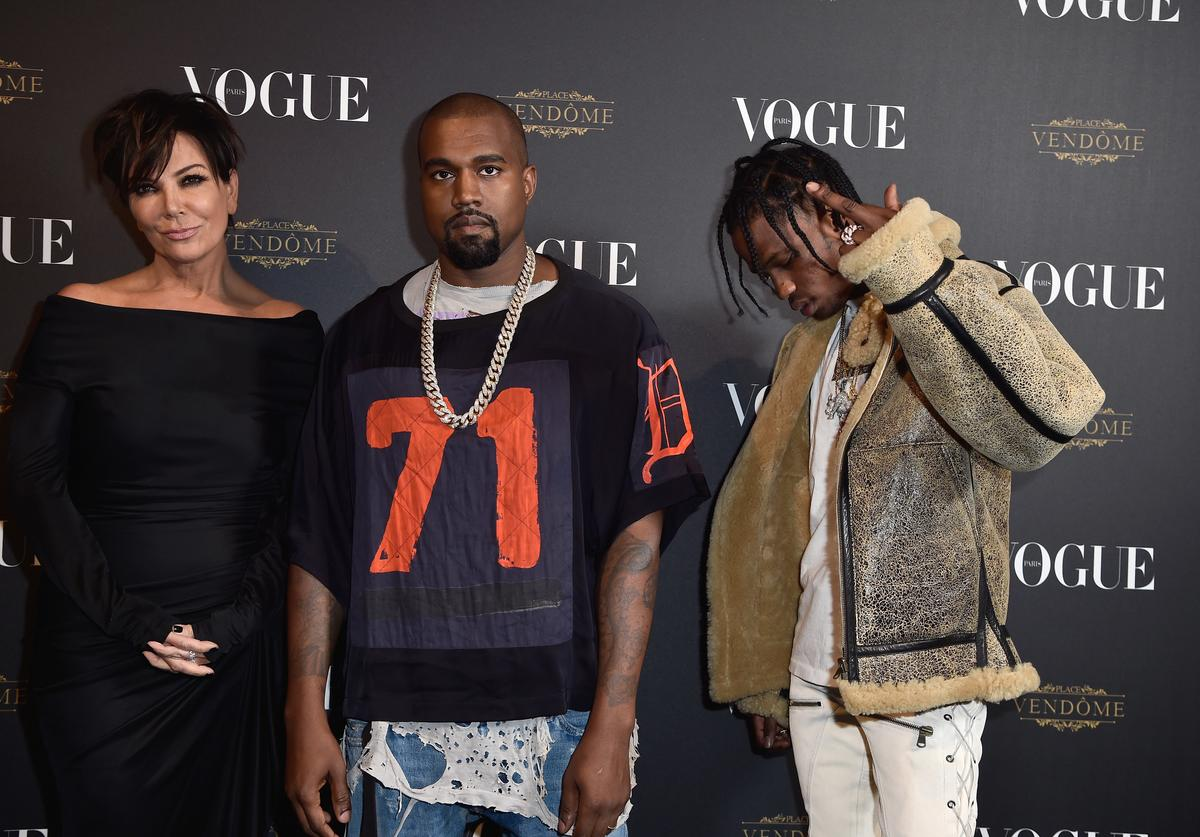 Kris Jenner, Kanye West and Travis Scott attend the Vogue 95th Anniversary Party on October 3, 2015 in Paris, France