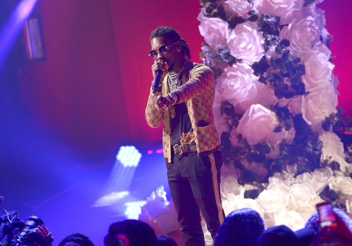 Offset of Migos performs onstage at iHeartRadio album release party with Migos presented by MAGNUM Large Size Condoms at iHeartRadio Theater on January 22, 2018 in Burbank, California