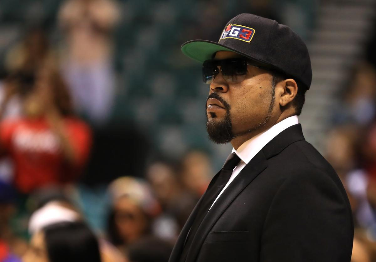 BIG3 founder and recording artist Ice Cube looks on during the BIG3 three on three basketball league runner-up game on August 26, 2017 in Las Vegas, Nevada