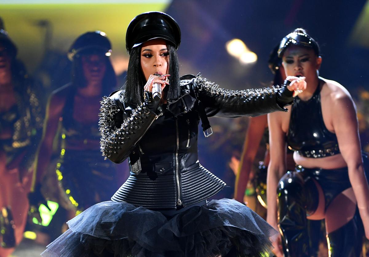 Cardi B performs onstage during the 2018 iHeartRadio Music Awards which broadcasted live on TBS, TNT, and truTV at The Forum on March 11, 2018 in Inglewood, California