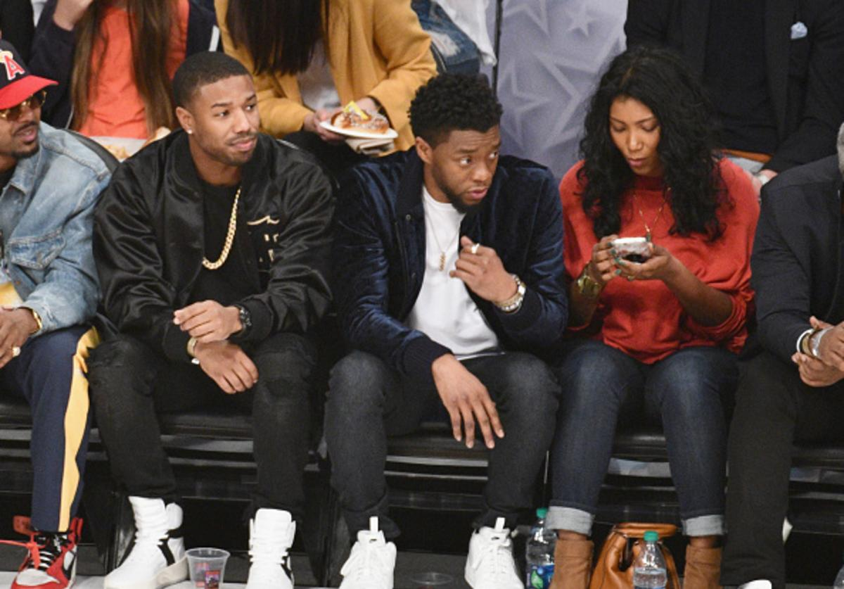 Michael B. Jordan and Chadwick Boseman attend the NBA All-Star Game 2018 at Staples Center on February 18, 2018 in Los Angeles, California.