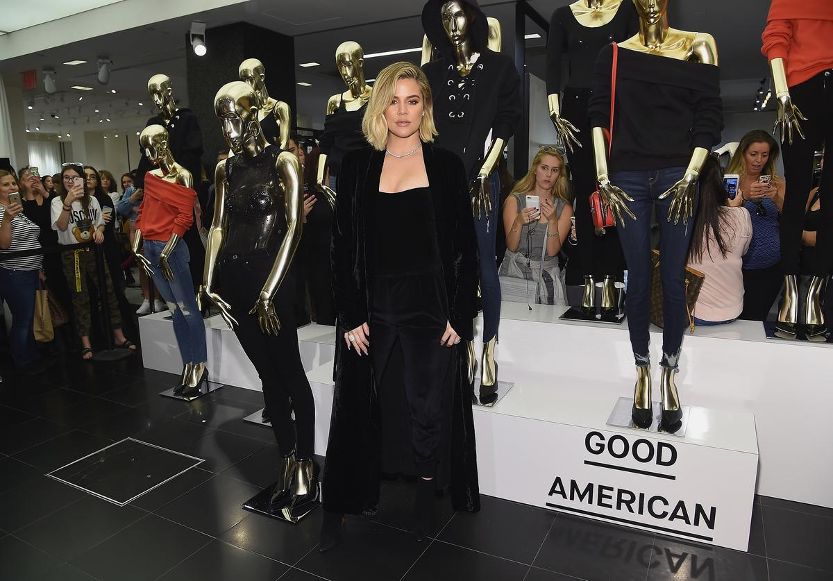Khloe Kardashian celebrates the launch of Good American with Emma Grede at Bloomingdale's on October 28, 2017 in New York City