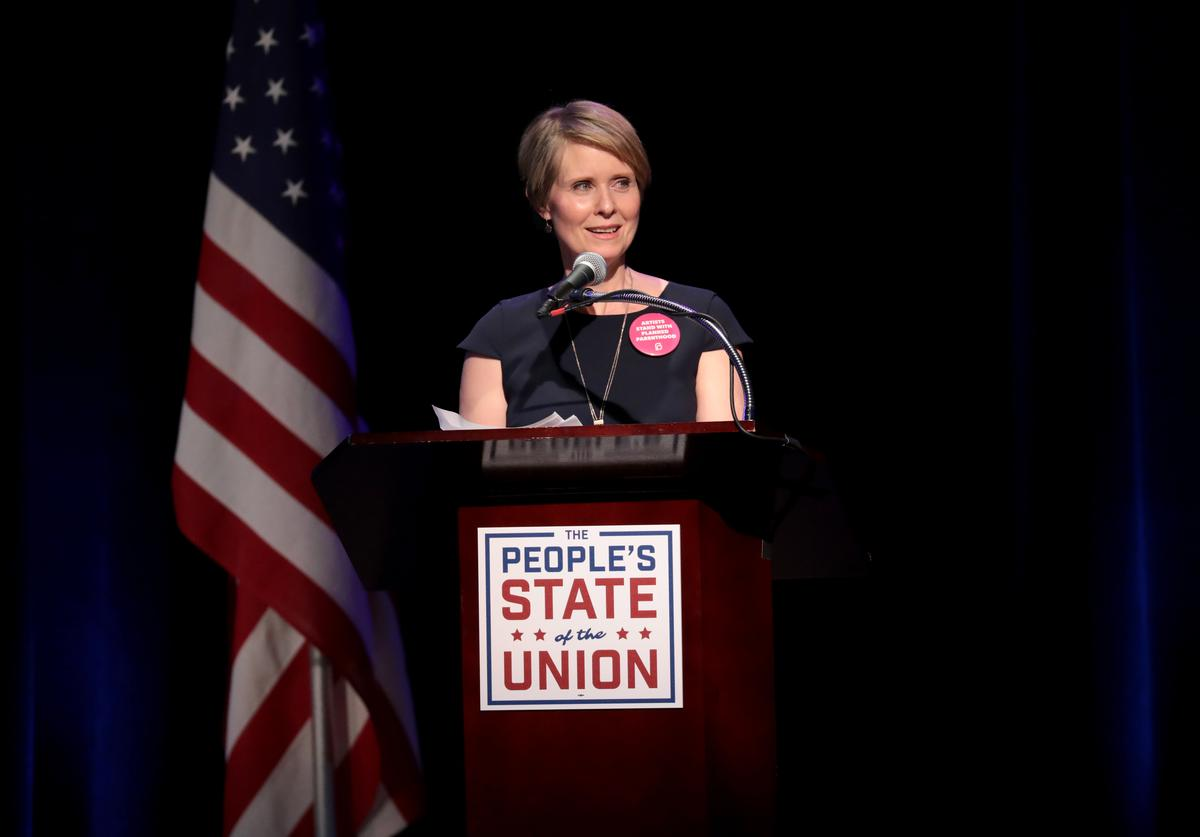 Actress Cynthia Nixon speaks onstage at The People's State Of The Union at Townhall on January 29, 2018 in New York City.