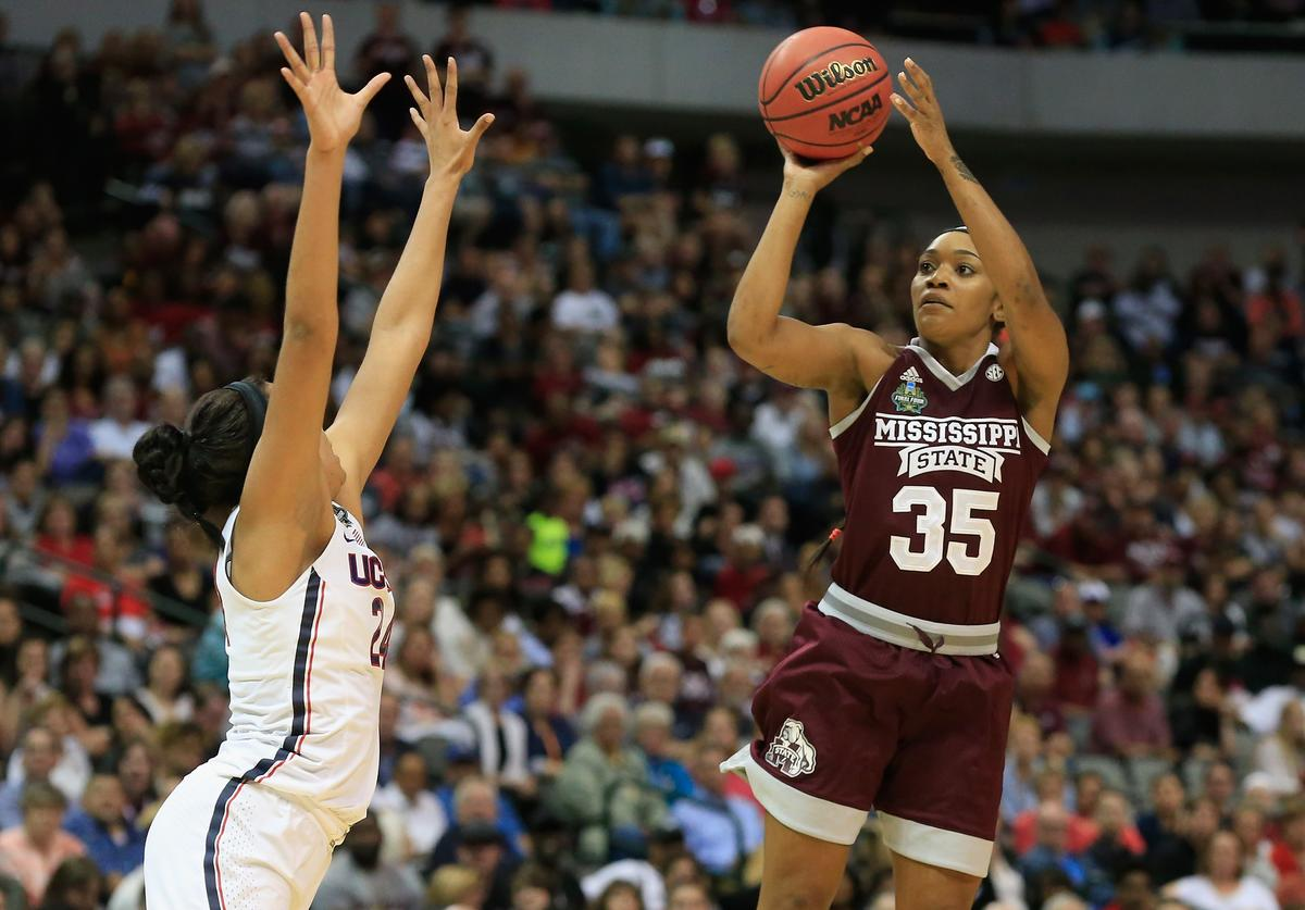 Victoria Vivians #35 of the Mississippi State Lady Bulldogs shoots against Napheesa Collier #24 of the Connecticut Huskies in the first quarter during the semifinal round of the 2017 NCAA Women's Final Four at American Airlines Center on March 31, 2017 in Dallas, Texas.