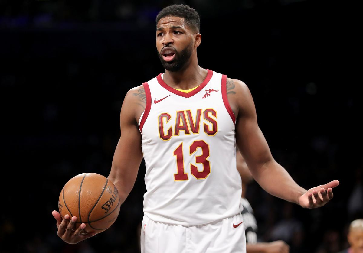 Tristan Thompson #13 of the Cleveland Cavaliers reacts in the first quarter against the Brooklyn Nets during their game at Barclays Center on March 25, 2018 in the Brooklyn borough of New York City