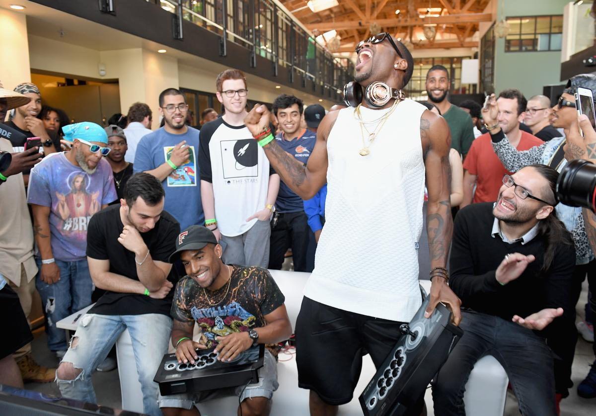 Safaree Samuels and professional gamer Christopher Gonzales attend Next Level Presented By AMP Energy, A Hip Hop Gaming Tournament at Rostrum Records on June 23, 2016 in Los Angeles, California.