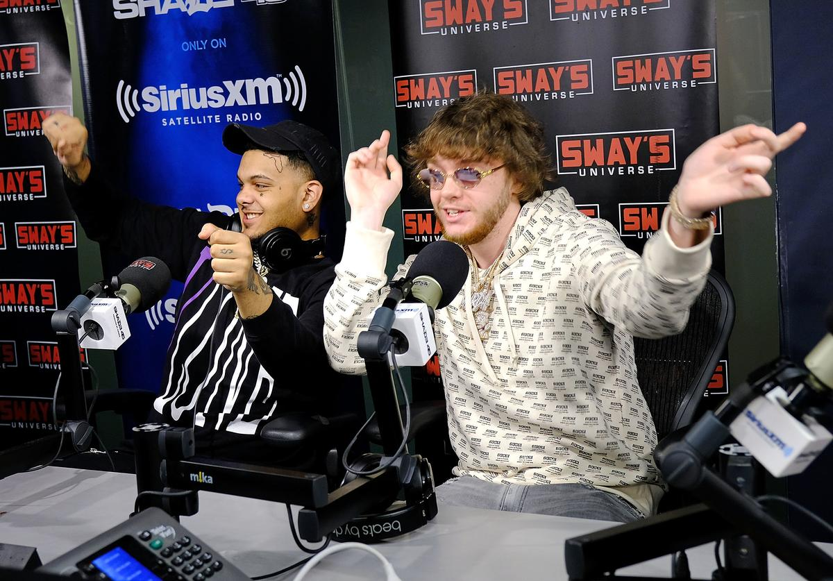 Smokepurpp (L) and Murda Beatz visit 'Sway in the Morning' hosted by SiriusXM's Sway Calloway on Eminem's Shade 45æat the SiriusXM Studios on April 6, 2018 in New York City