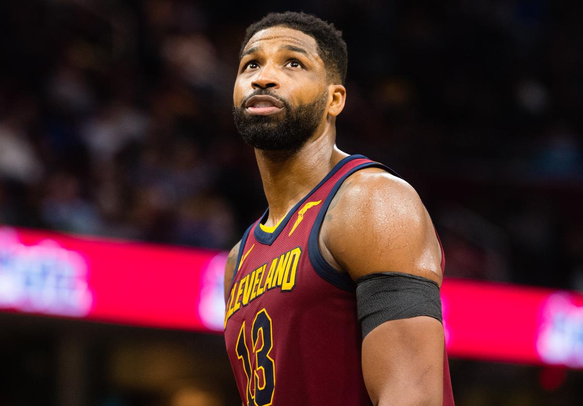Tristan Thompson #13 of the Cleveland Cavaliers looks to the scoreboard during the second half at Quicken Loans Arena on April 11, 2018 in Cleveland, Ohio. The Knicks defeated the Cavaliers 110-98.