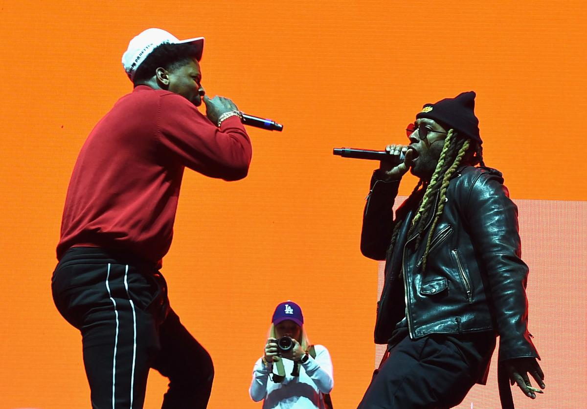 YG and Ty Dolla $ign perform on the Camp Stage during day 2 of Camp Flog Gnaw Carnival 2017 at Exposition Park on October 29, 2017 in Los Angeles, California