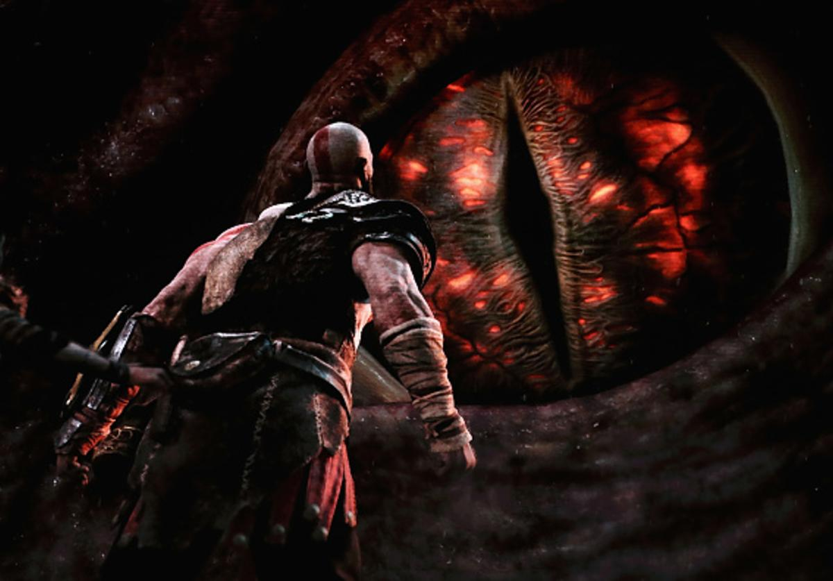 JUNE 12: 'God of War' for the PS4 is revealed during the Sony Playstation E3 conference at the Shrine Auditorium on June 12, 2017 in Los Angeles, California. The E3 Game Conference begins on Tuesday June 13