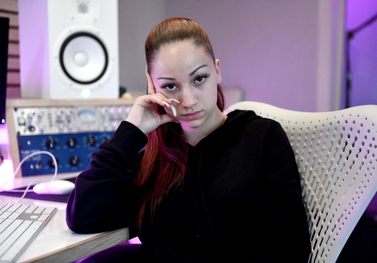 Bhad Bhabie, real name Danielle Bregoli, attends a recording session at Atlantic Records Studios on March 13, 2018 in Los Angeles, California