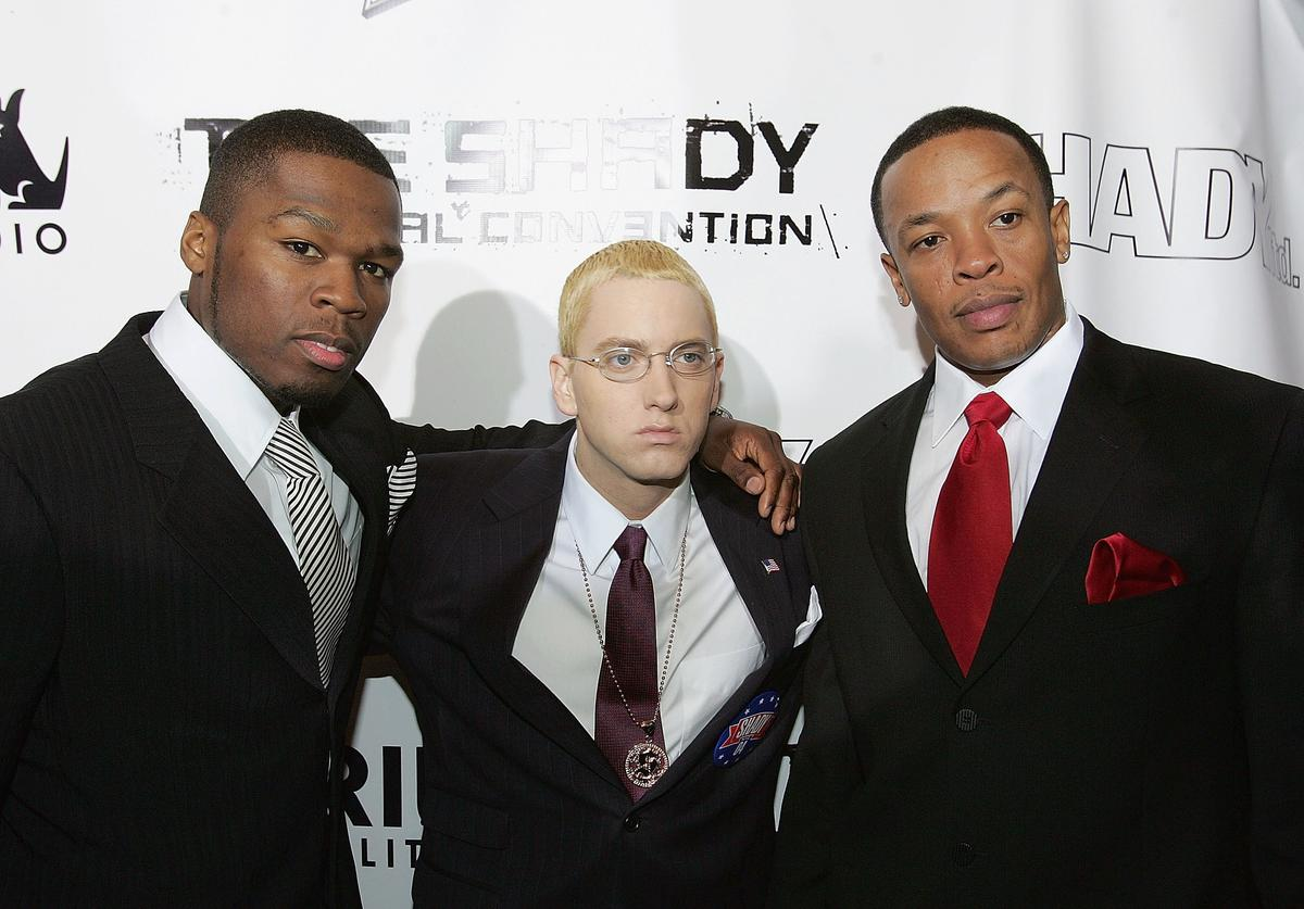 50 Cent, Eminem and Dr. Dre arrive at the Shady National Convention to launch Shade 45, a new satellite radio station, at the Roseland Ballroom October 28, 2004 in New York City