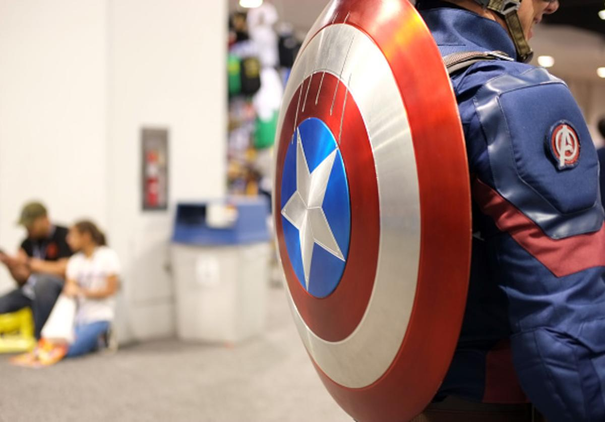 View of a Captain America cosplayer's shield during WonderCon 2018 at Anaheim Convention Center on March 23, 2018 in Anaheim, California.