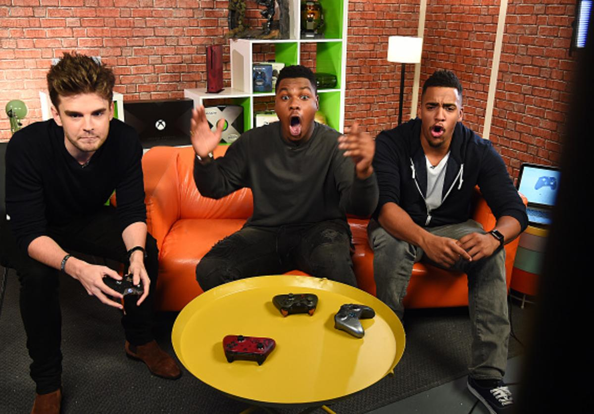 John Boyega joins Rukari Austin and Benny Perkin to play Star Wars Battlefront II on Xbox One X for Xbox Live Sessions on November 15, 2017 in London, England.