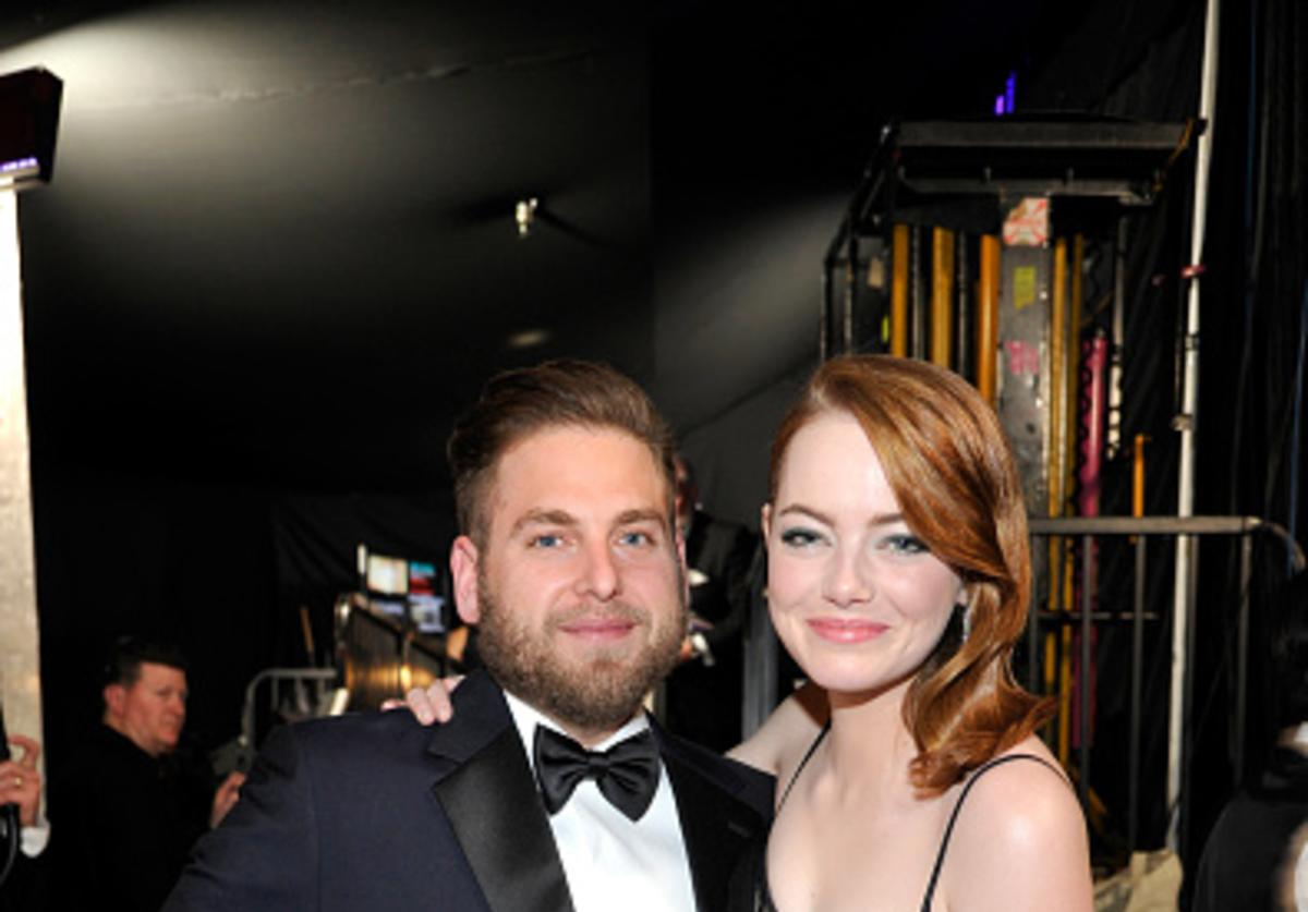 Actors Jonah Hill (L) and Emma Stone attend The 23rd Annual Screen Actors Guild Awards at The Shrine Auditorium on January 29, 2017 in Los Angeles, California.