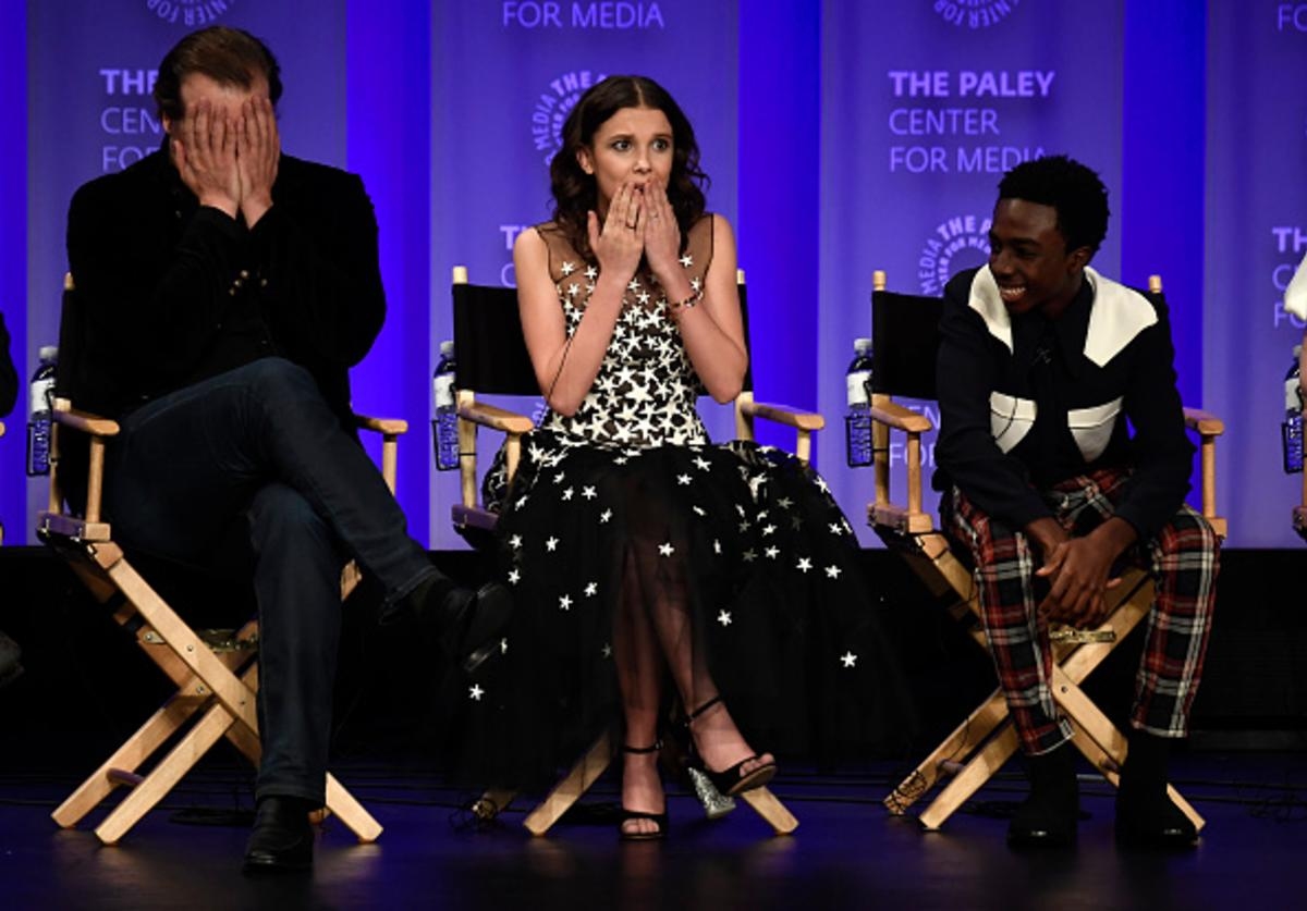 David Harbour, Millie Bobby Brown, Caleb McLaughlin onstage at The Paley Center For Media's 35th Annual PaleyFest Los Angeles - 'Stranger Things' at Dolby Theatre on March 25, 2018 in Hollywood, California