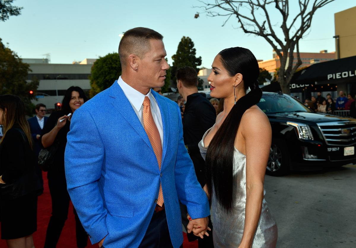 John Cena (L) and Nikki Bella attend the premiere of Universal Pictures' 'Blockers' at Regency Village Theatre on April 3, 2018 in Westwood, California.