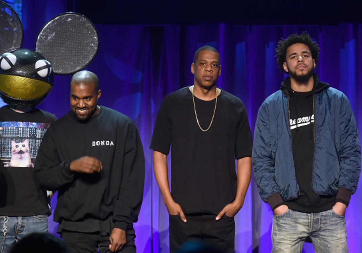 Deadmau5, Kanye West, JAY Z and J. Cole onstage at the Tidal launch event #TIDALforALL at Skylight at Moynihan Station on March 30, 2015 in New York City.