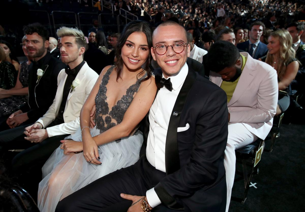 Model Jessica Andrea (L) and recording artist Logic attend the 60th Annual GRAMMY Awards at Madison Square Garden on January 28, 2018 in New York City.