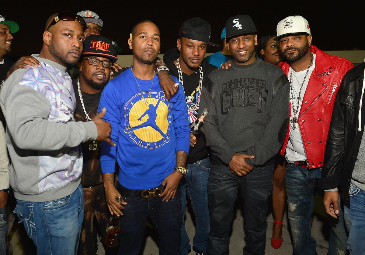 Freeky Zeeky, Chubbie Baby, Juelz Santana, Camron, Alex Gidewon and Jim Jones attend the Dipset Reunion at Compound on November 9, 2013 in Atlanta, Georgia.