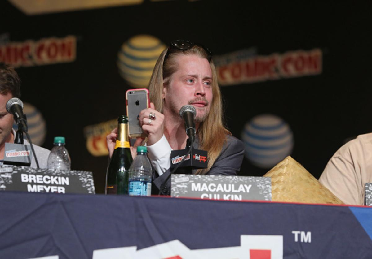Actor Macaulay Culkin speaks at the Adult Swim Panel: Robot Chicken. Adult Swim at New York Comic Con 2015 at the Jacob Javitz Center on October 9, 2015 in New York, United States.