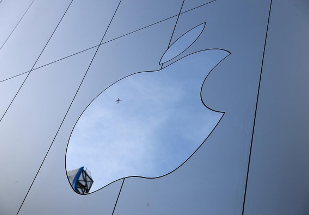 The Apple logo is displayed on the exterior of an Apple Store on February 1, 2018 in San Francisco, California. Apple will report quarterly earnings after the closing bell.