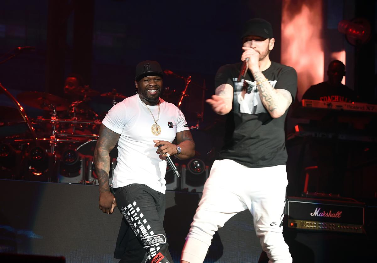 Curtis '50 Cent' Jackson (L) and Eminem perform onstage during the 2018 Coachella Valley Music and Arts Festival Weekend 1 at the Empire Polo Field on April 15, 2018 in Indio, California