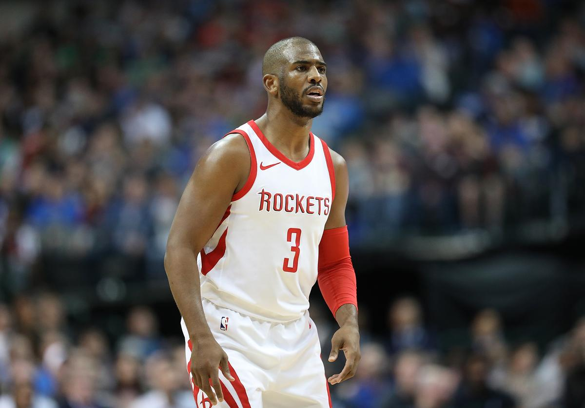 Chris Paul #3 of the Houston Rockets at American Airlines Center on March 11, 2018 in Dallas, Texas