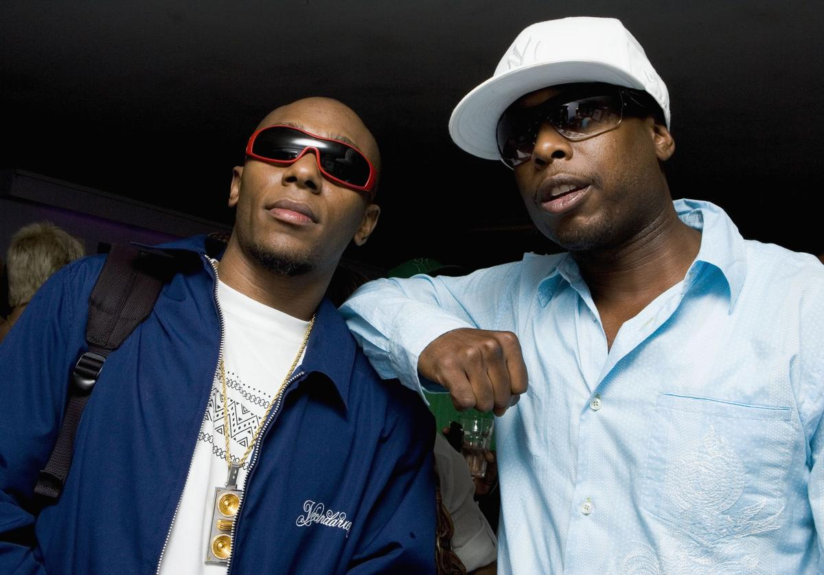 Rappers Mos Def (L) and Talib Kweli of Black Star pose while wearing Prada Linea Rossa sunglasses at the NBA Pre-Draft Party at the 40/40 Club on June 27, 2006 in New York City.