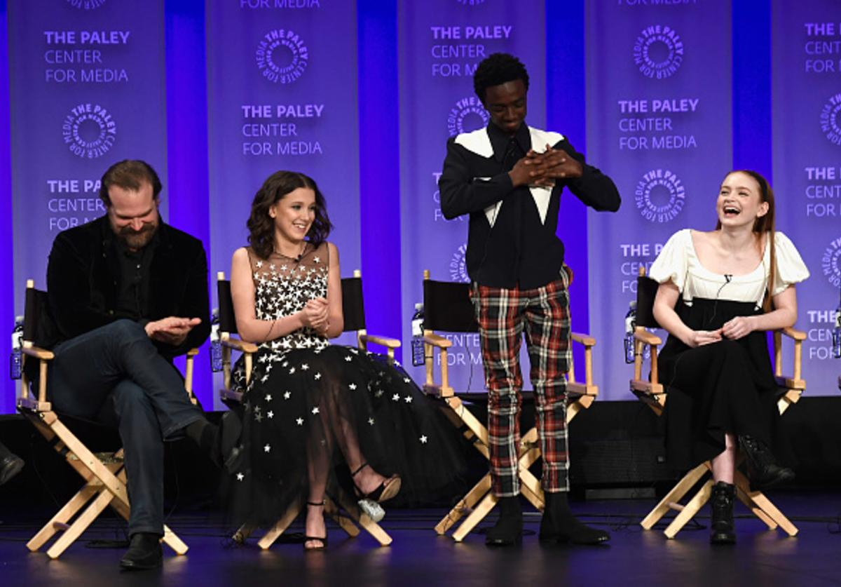 David Harbour, Millie Bobby Brown, Caleb McLaughlin and Sadie Sink speak onstage at The Paley Center for Media's 35th Annual PaleyFest Los Angeles - 'Stranger Things' at Dolby Theatre on March 25, 2018 in Hollywood, California.