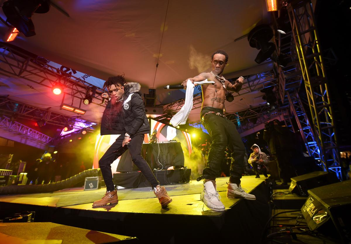 Rae Sremmurd performs on the Verizon Up Stage at Super Bowl LIVE presented by Verizon on February 1, 2018 in Minneapolis, Minnesota