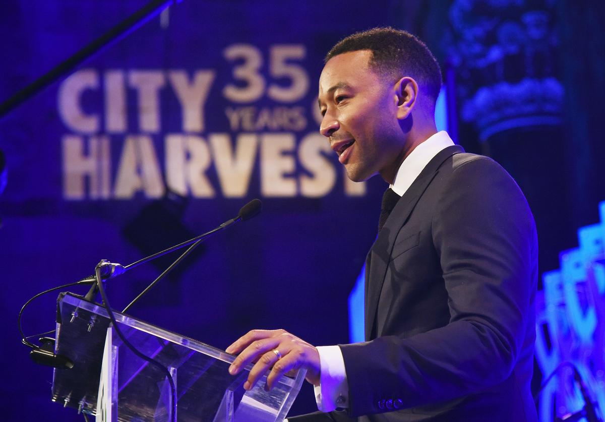 John Legend speaks onstage during City Harvest's 35th Anniversary Gala at Cipriani 42nd Street on April 24, 2018 in New York City.