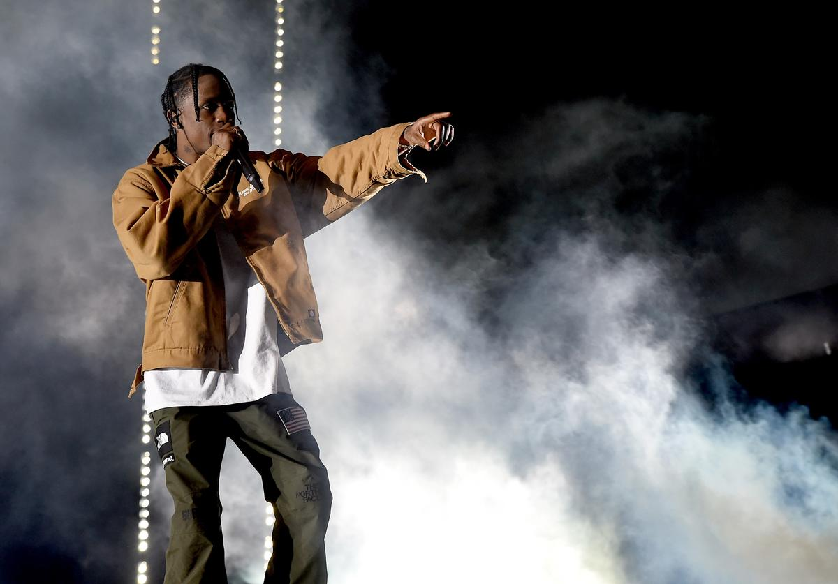 Travis Scott performs on the Coachella Stage during day 3 of the Coachella Valley Music And Arts Festival (Weekend 1) at the Empire Polo Club on April 16, 2017 in Indio, California