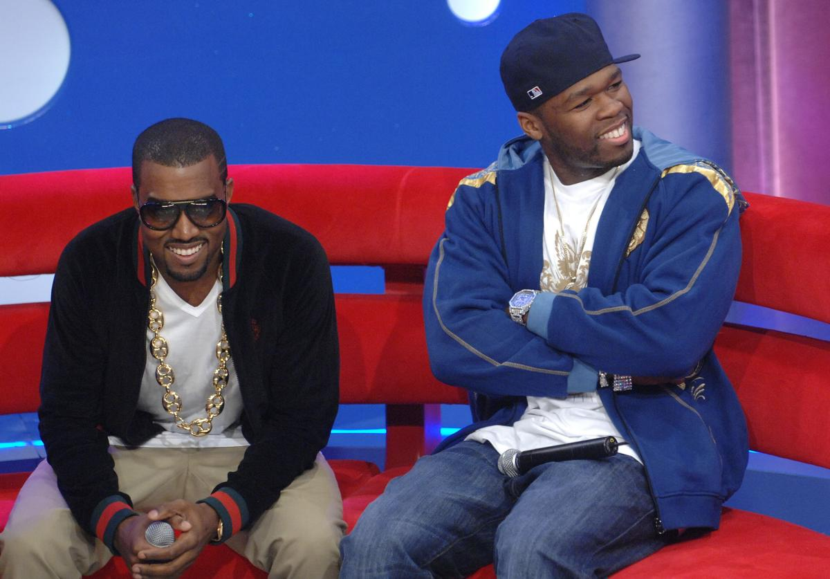 Kanye West (L) and 50 Cent appear on BET's 106 & Park at BET Studios September 11, 2007 in New York City