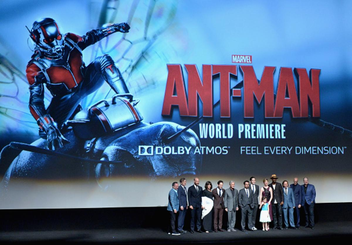 Executive producer Louis D'Esposito, actors Martin Donovan, Corey Stoll, Evangeline Lilly, Paul Rudd, Michael Douglas, Michael Pena, David Dastmalchian, Abby Ryder Fortson, Judy Greer, Wood Harris and Gregg Turkington, director Director Peyton Reed and producer Kevin Feige onstage during the world premiere of Marvel's 'Ant-Man' at The Dolby Theatre on June 29, 2015 in Los Angeles, California.