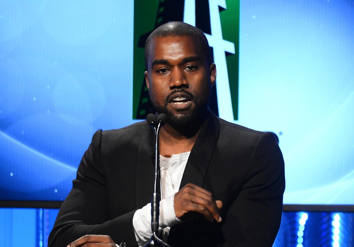 Kanye West speaks onstage during the 17th annual Hollywood Film Awards at The Beverly Hilton Hotel on October 21, 2013 in Beverly Hills, California