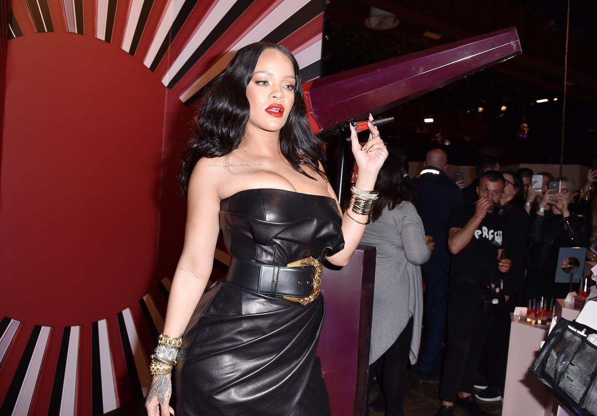 Rihanna attends Sephora loves Fenty Beauty by Rihanna launch event on April 5, 2018 in Milan, Italy.