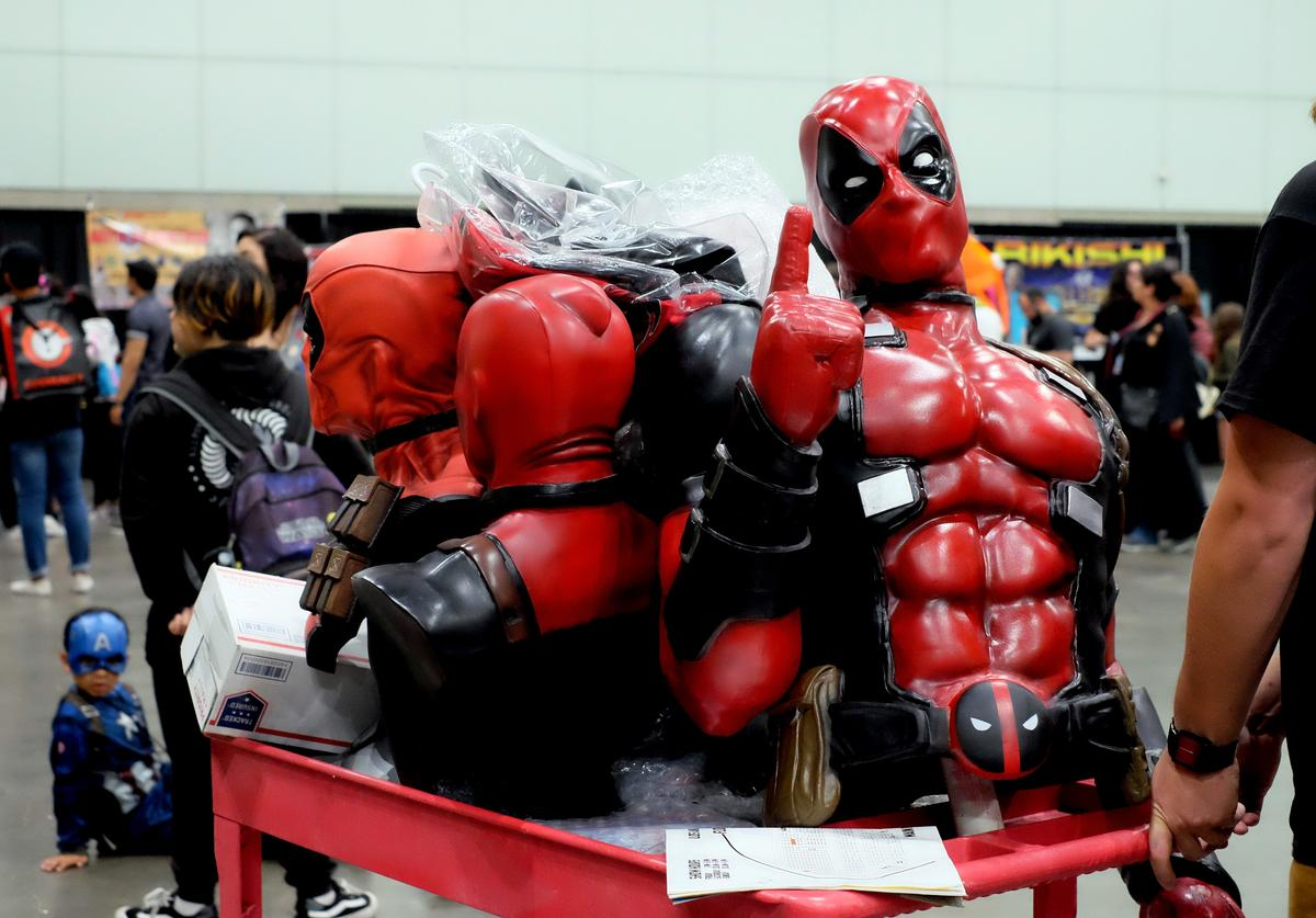 A cart of Deadpool busts and collectibles is seen at Stan Lee's Los Angeles Comic Con 2017 at the Los Angeles Convention Center on October 28, 2017 in Los Angeles, California