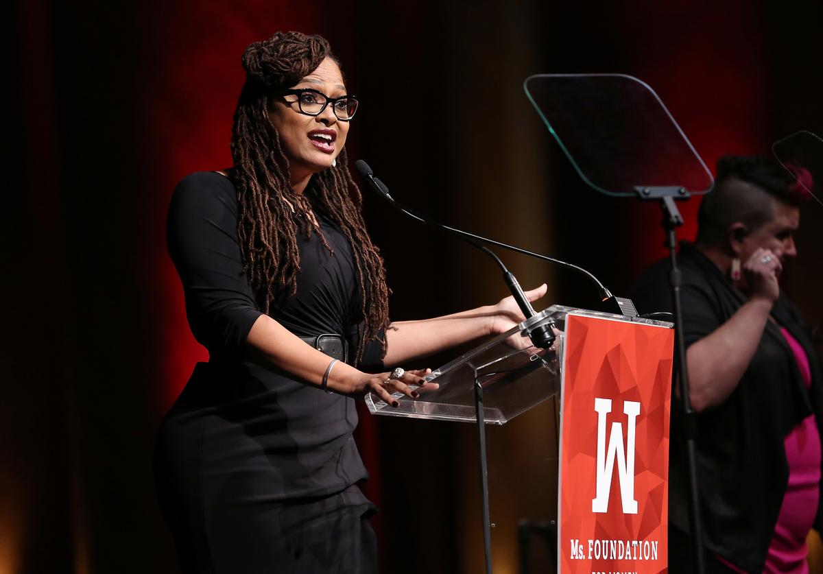 Academy Award-Nominated Director and WOV Honoree, Ava DuVernay speaks onstage at the Ms. Foundation 30th Annual Gloria Awards at Capitale on May 3, 2018 in New York City.