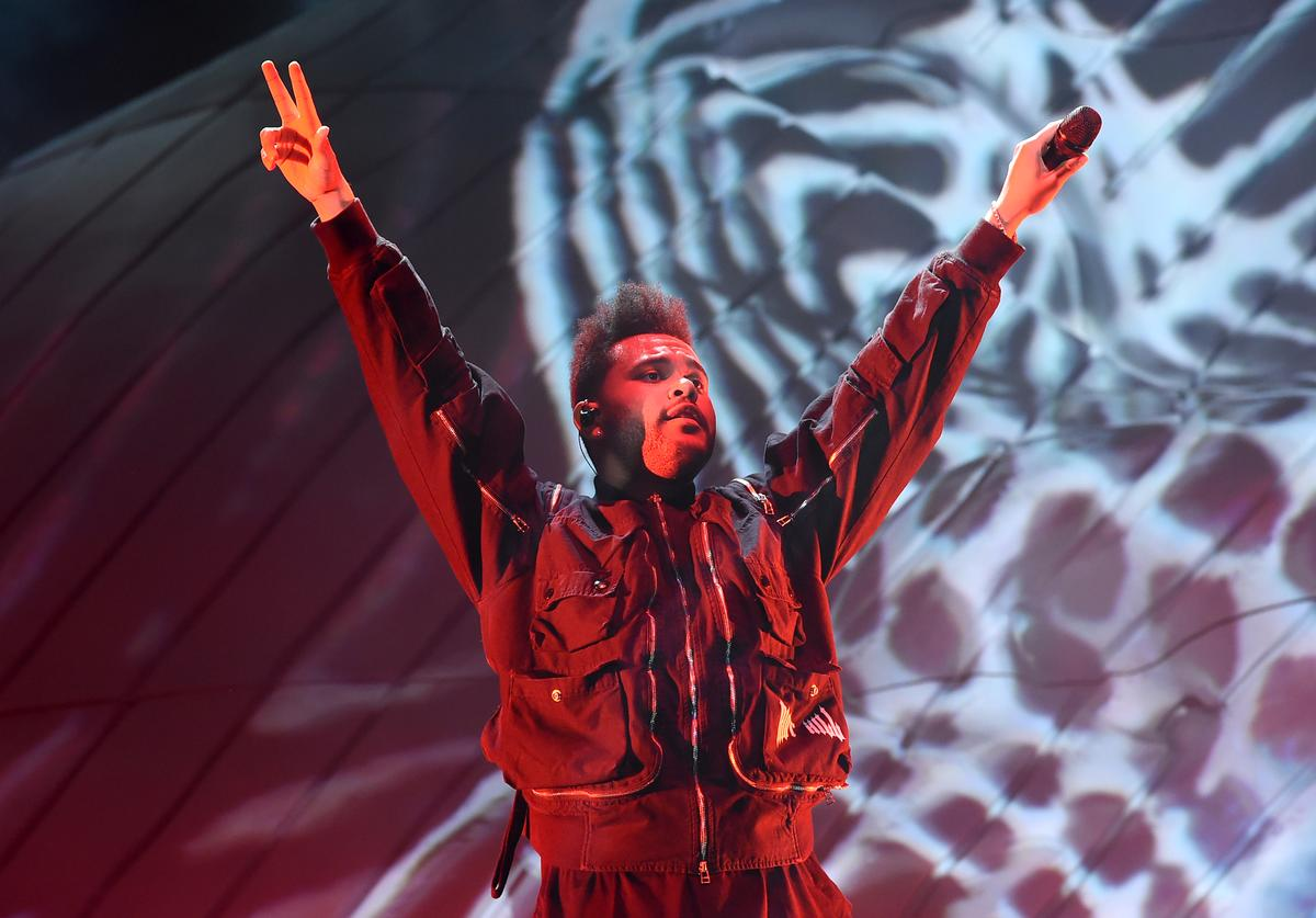 The Weeknd performs onstage during the 2018 Coachella Valley Music And Arts Festival at the Empire Polo Field on April 20, 2018 in Indio, California.