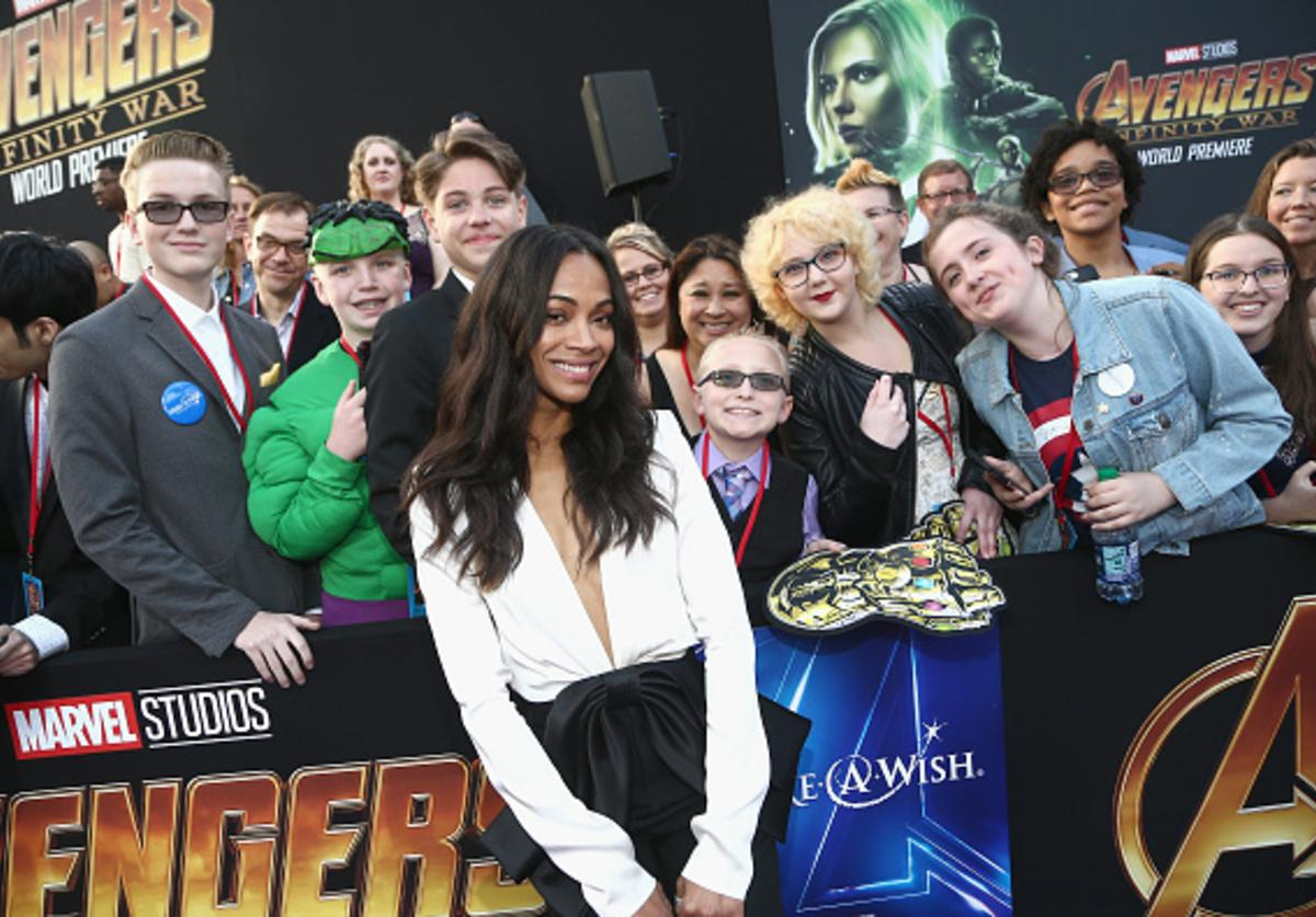 : Actor Zoe Saldana (C) attends the Los Angeles Global Premiere for Marvel Studios' Avengers: Infinity War on April 23, 2018 in Hollywood, California.