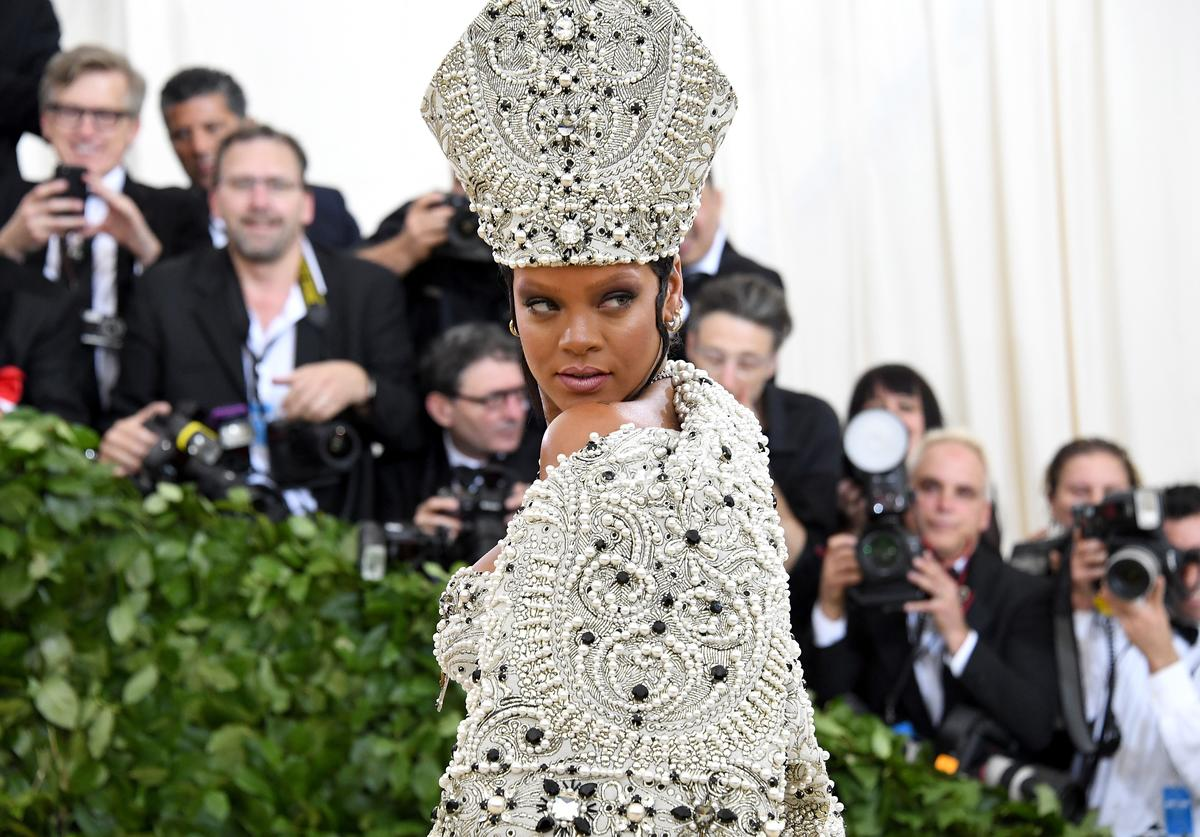 Recording artist Rihanna attends the Heavenly Bodies: Fashion & The Catholic Imagination Costume Institute Gala at The Metropolitan Museum of Art on May 7, 2018 in New York City.