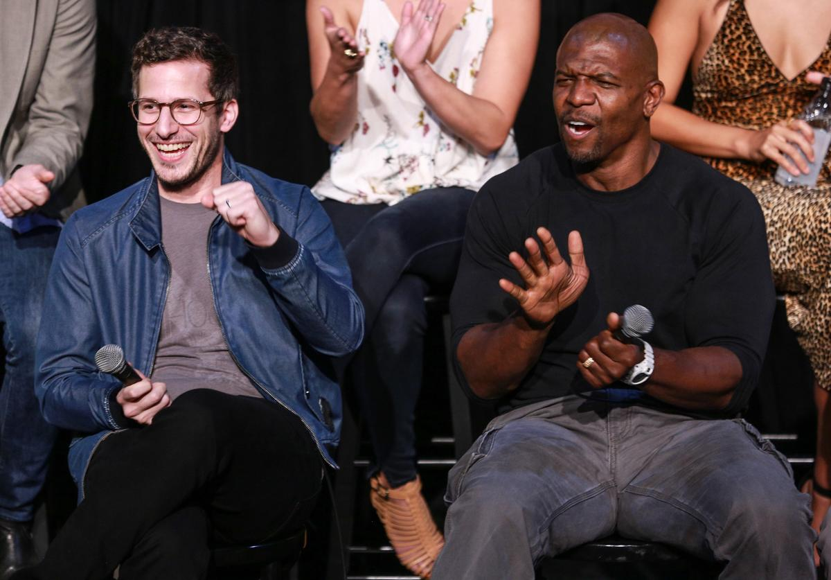 Actors Andy Samberg (L) and Terry Crews attend Fox's 'Brooklyn Nine-Nine' FYC @ UCB at UCB Sunset Theater on June 14, 2017 in Los Angeles, California.